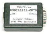 USB2RS232 OPTO - galvanic decoupling RS232 - 1500Vrms Isolation